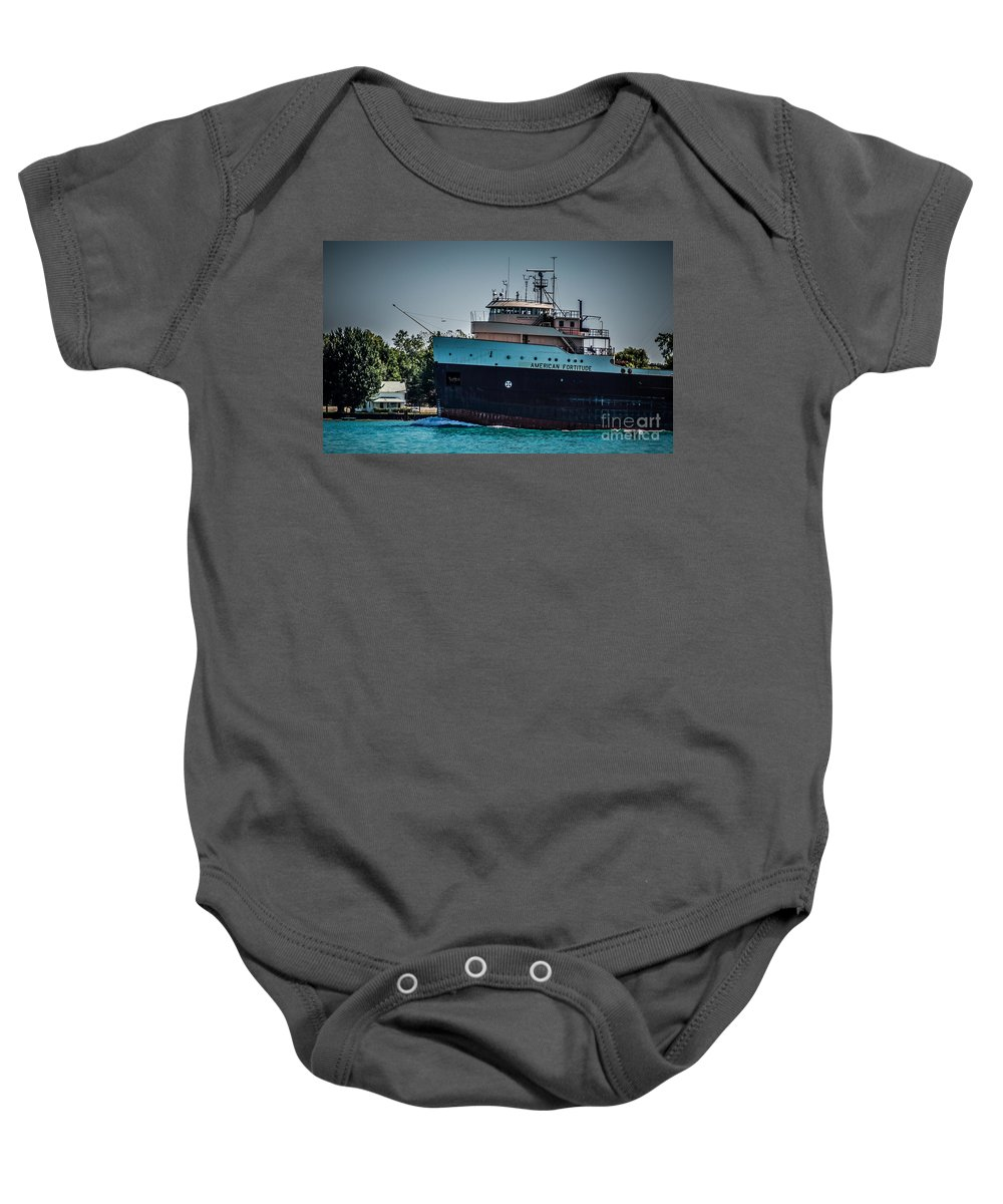 Ship Baby Onesie featuring the photograph American Fortitude by Ronald Grogan
