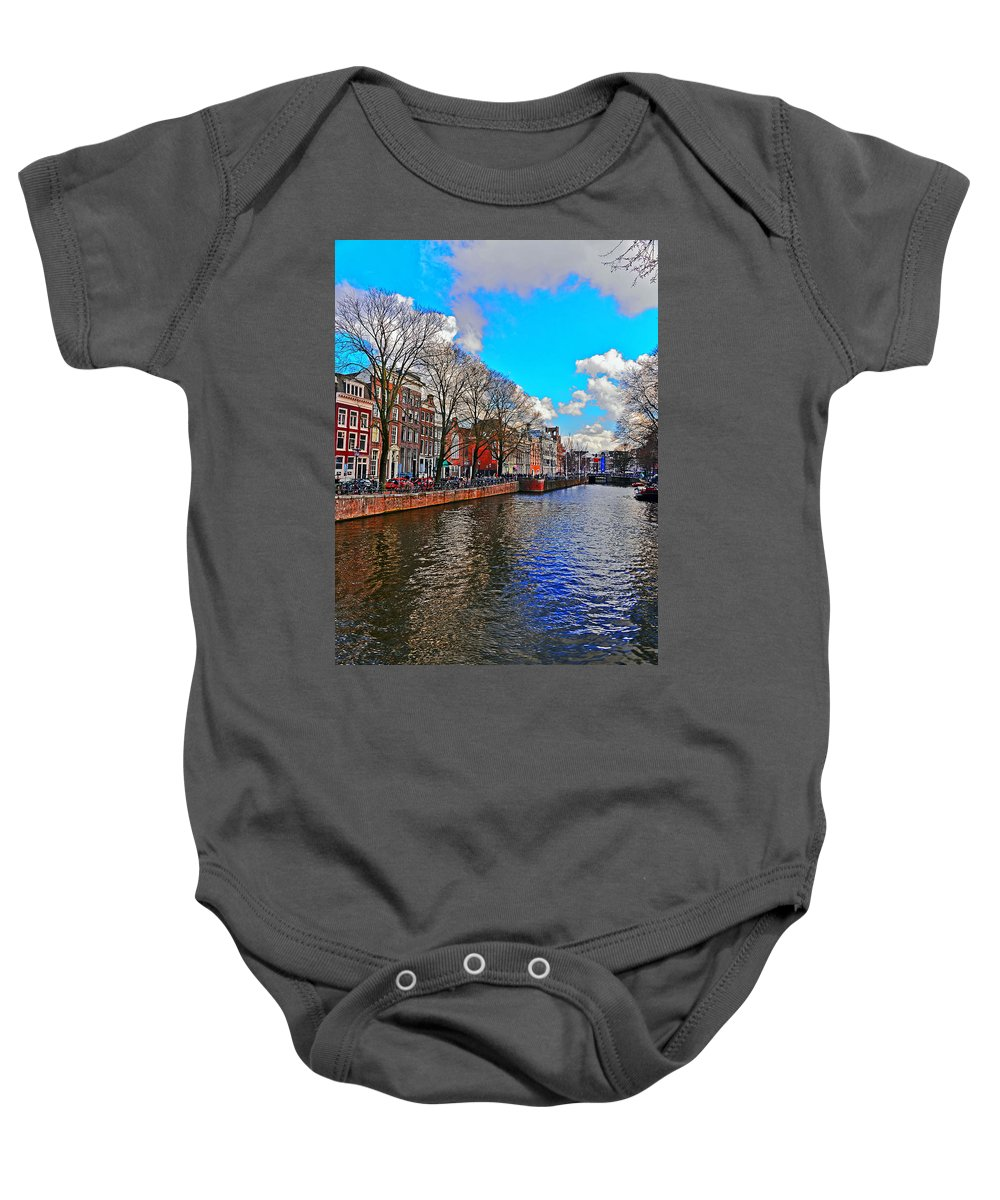 Travel Baby Onesie featuring the photograph Amsterdam Canal In Spring by Elvis Vaughn