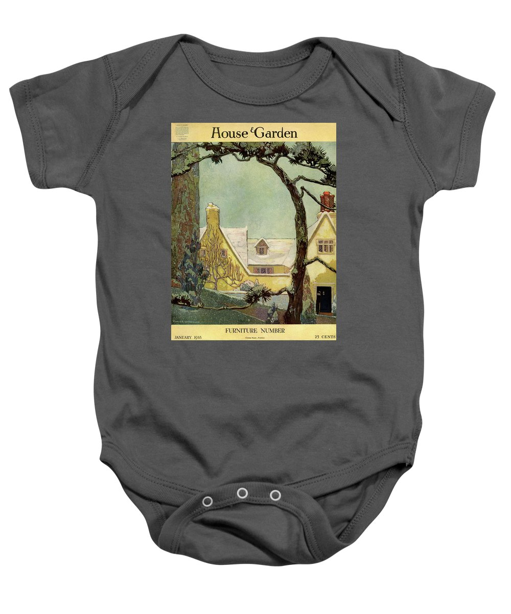 House And Garden Baby Onesie featuring the photograph An English Country House by Porter Woodruff