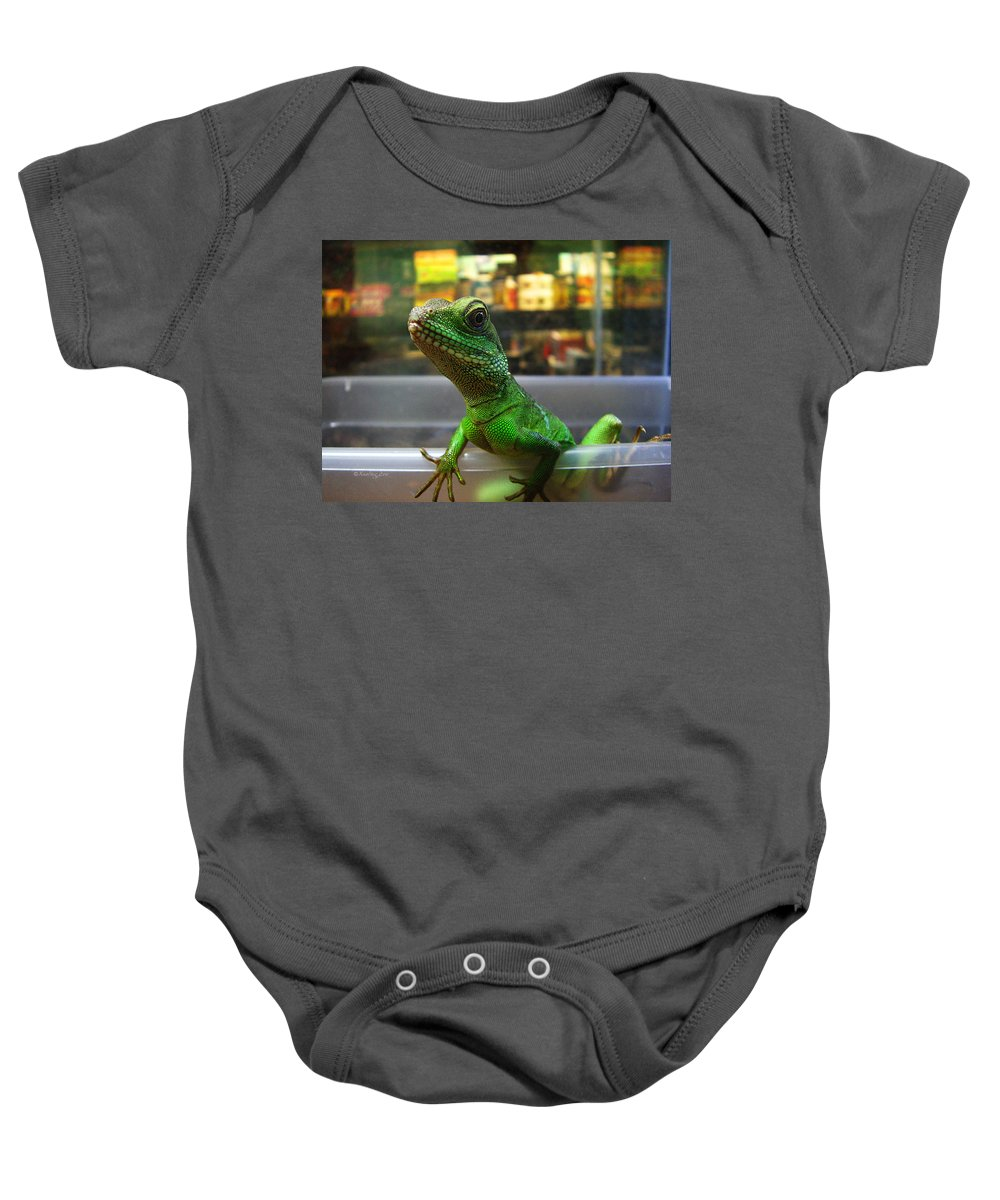 Gecko Baby Onesie featuring the photograph An Escape Artist by Xueling Zou