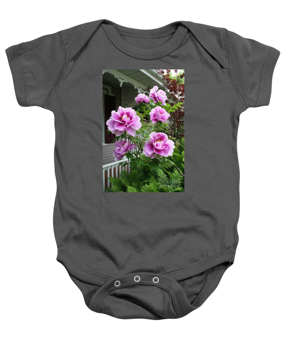Flowers Baby Onesie featuring the photograph An Inviting Welcome by Barbara McMahon