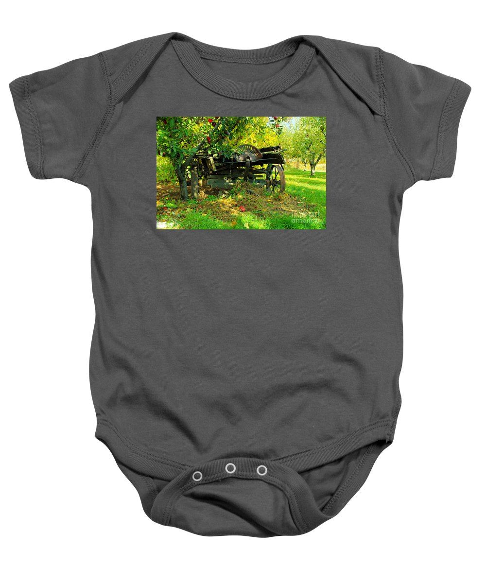 Rural Things Baby Onesie featuring the photograph An Old Harvest Wagon by Jeff Swan