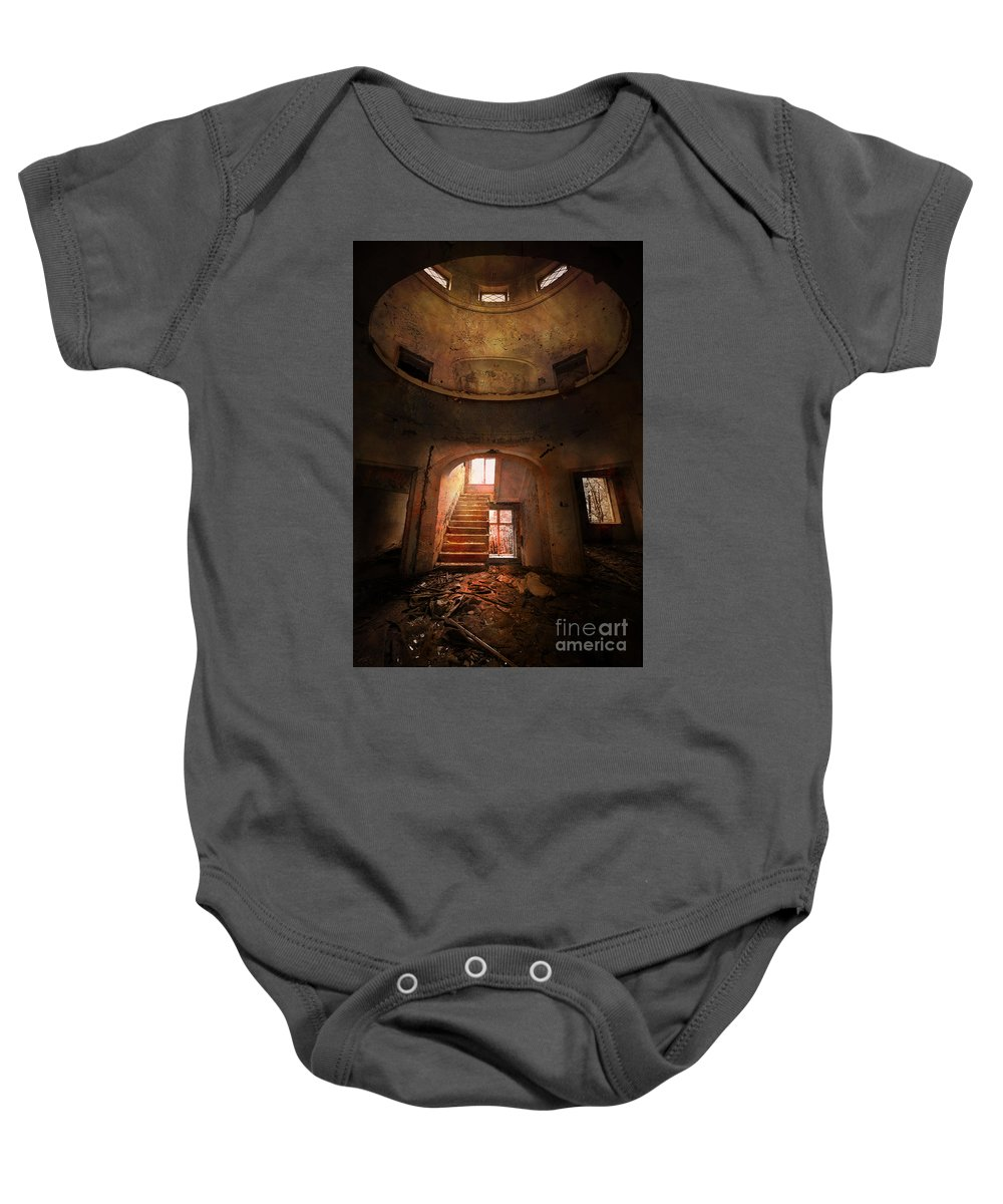 Buildng Baby Onesie featuring the photograph An Old Ruined Building by Jaroslaw Blaminsky