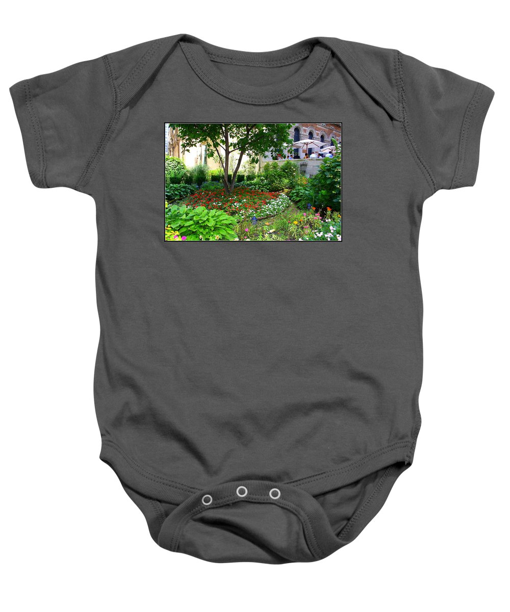 An Urban Oasis - New York City - Landscapes - The Garden At St. Barth's Church On Park Avenue - Urban Gardens - Flowers - Trees - Baby Onesie featuring the photograph An Urban Oasis by Dora Sofia Caputo Photographic Design and Fine Art