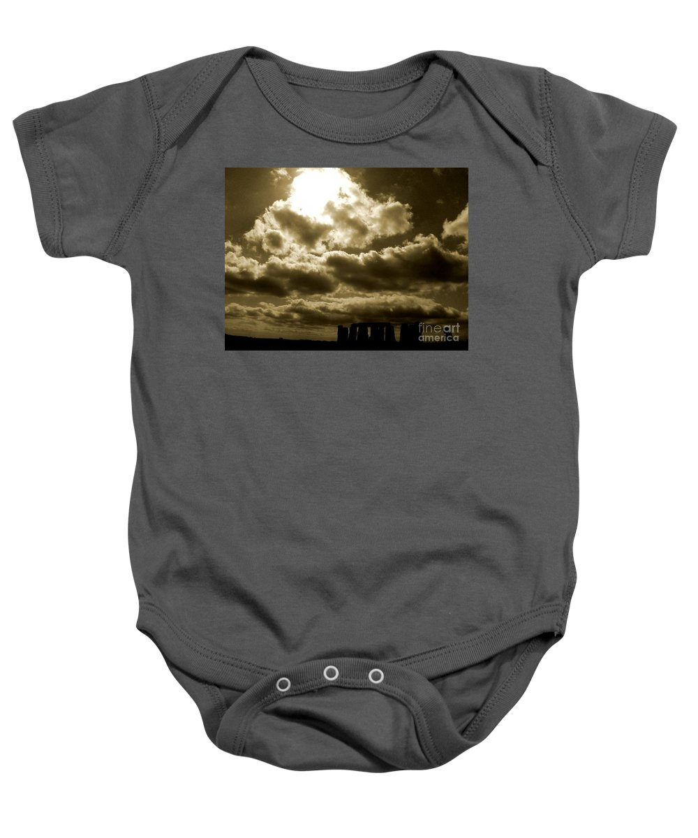 Edited Baby Onesie featuring the photograph Ancient Mystery by Vicki Spindler