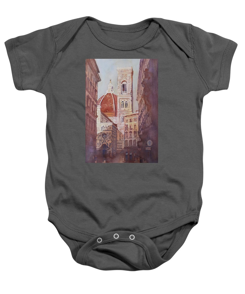 Duomo Campainula Baby Onesie featuring the painting And Suddenly The Duomo by Jenny Armitage