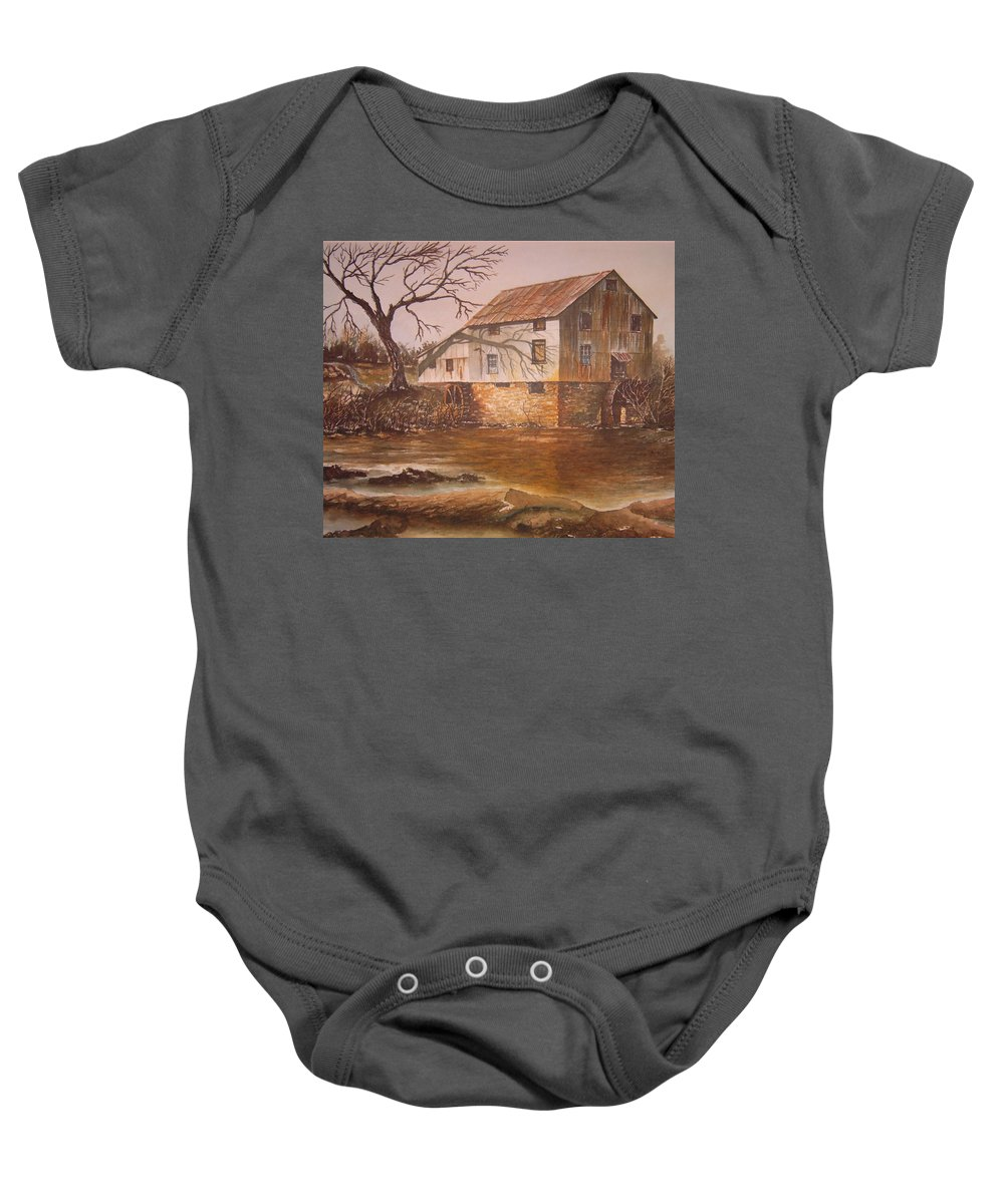 Landscape Baby Onesie featuring the painting Anderson Mill by Ben Kiger