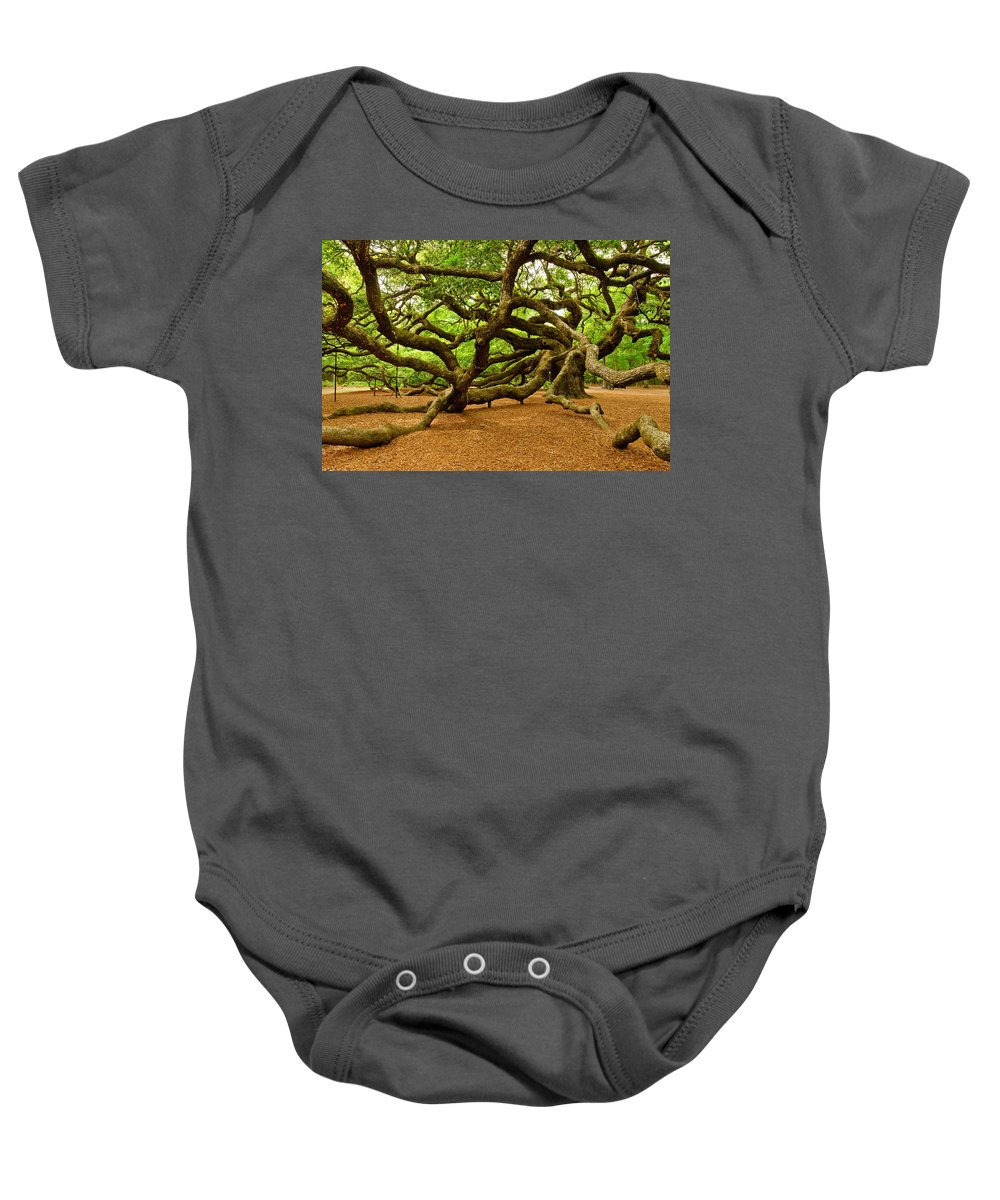 Nature Baby Onesie featuring the photograph Angel Oak Tree Branches by Louis Dallara