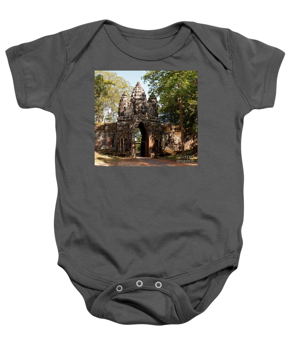 Angkor Baby Onesie featuring the photograph Angkor Thom North Gate 02 by Rick Piper Photography