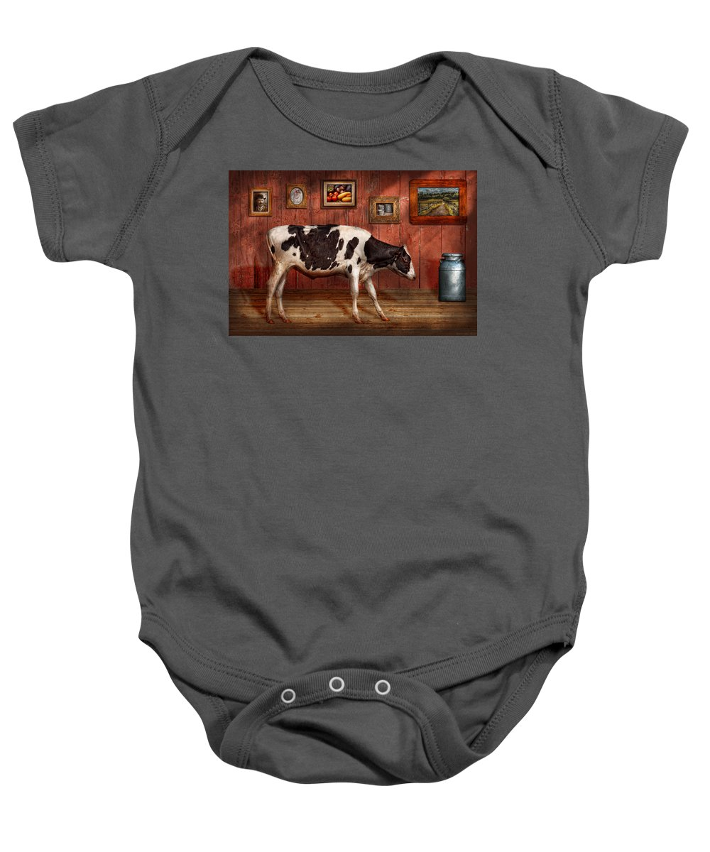 Cow Baby Onesie featuring the photograph Animal - The Cow by Mike Savad
