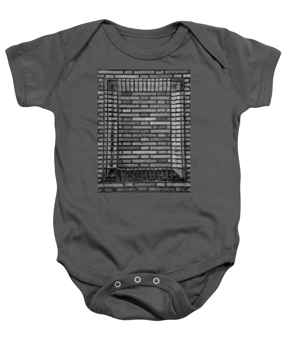 Scenic Baby Onesie featuring the photograph Another Brick In The Wall In Black And White by Rob Hans