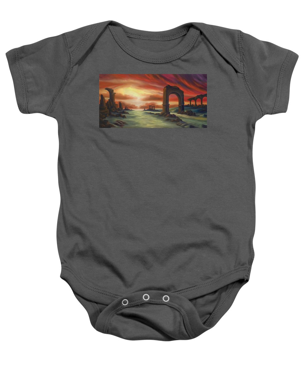 Sunset Baby Onesie featuring the painting Another Fallen Empire by James Christopher Hill