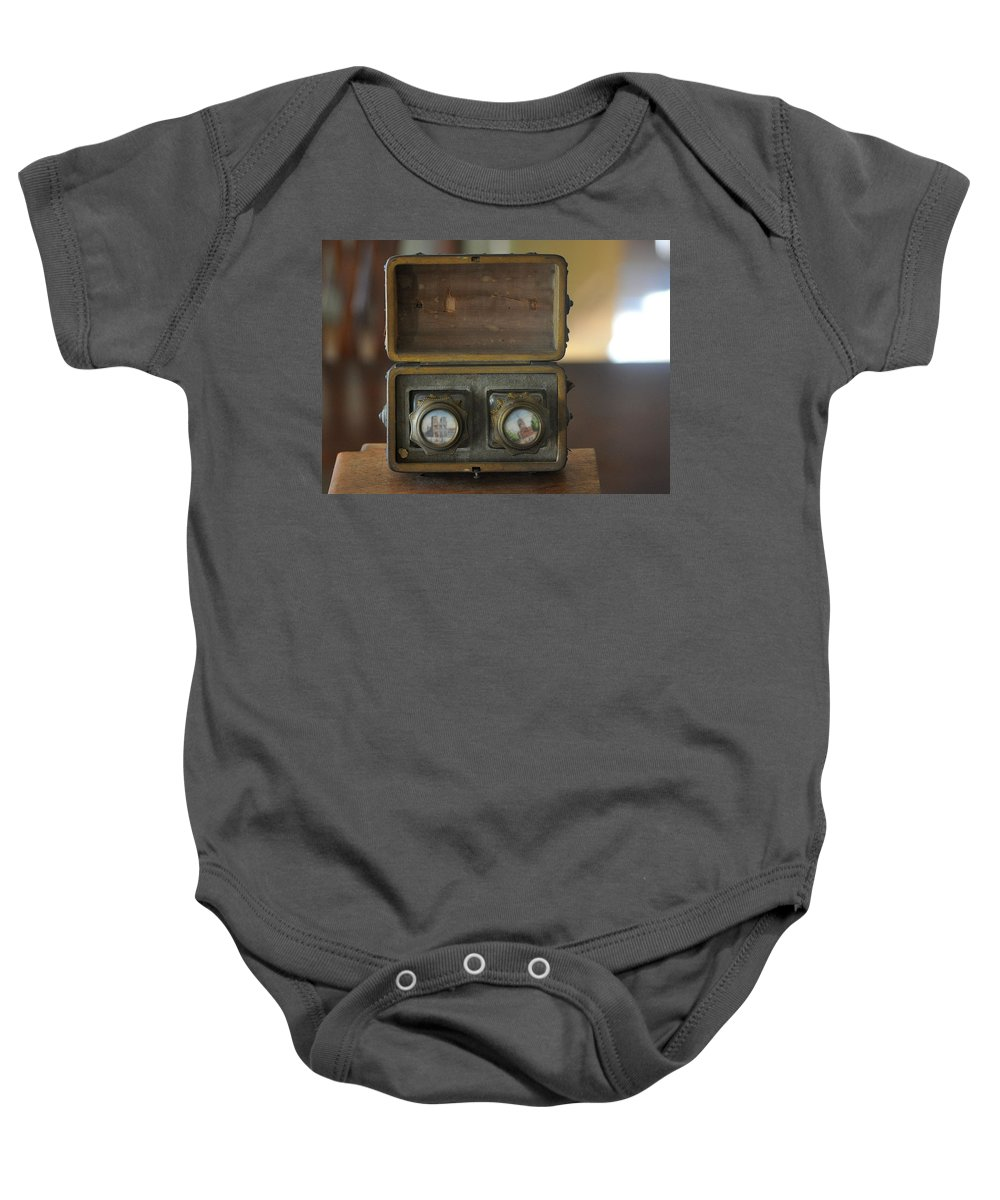 Wooden Box Baby Onesie featuring the photograph Antique Ink Wells by Jay Milo