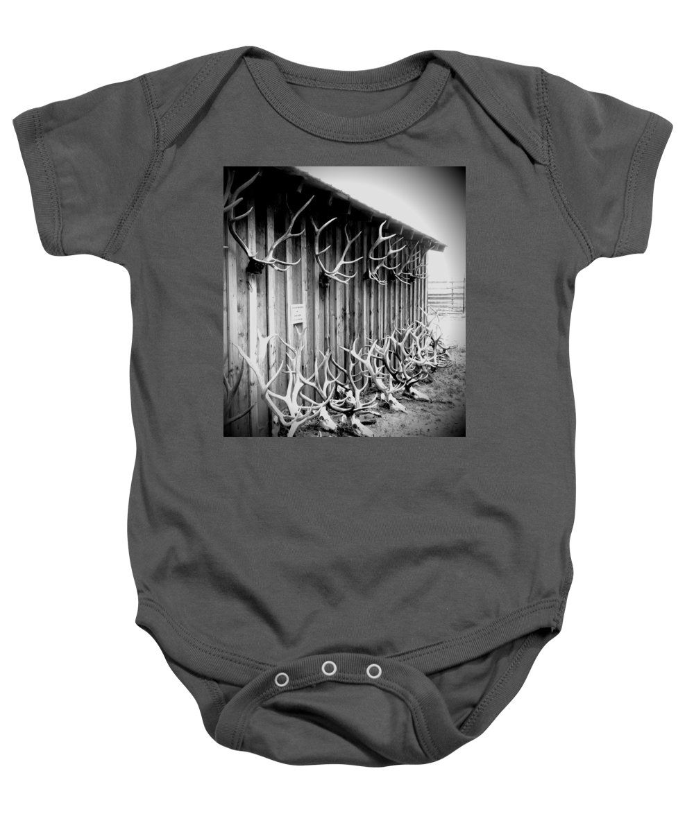 Black And White Antlers Baby Onesie featuring the photograph Antlers by Dan Sproul