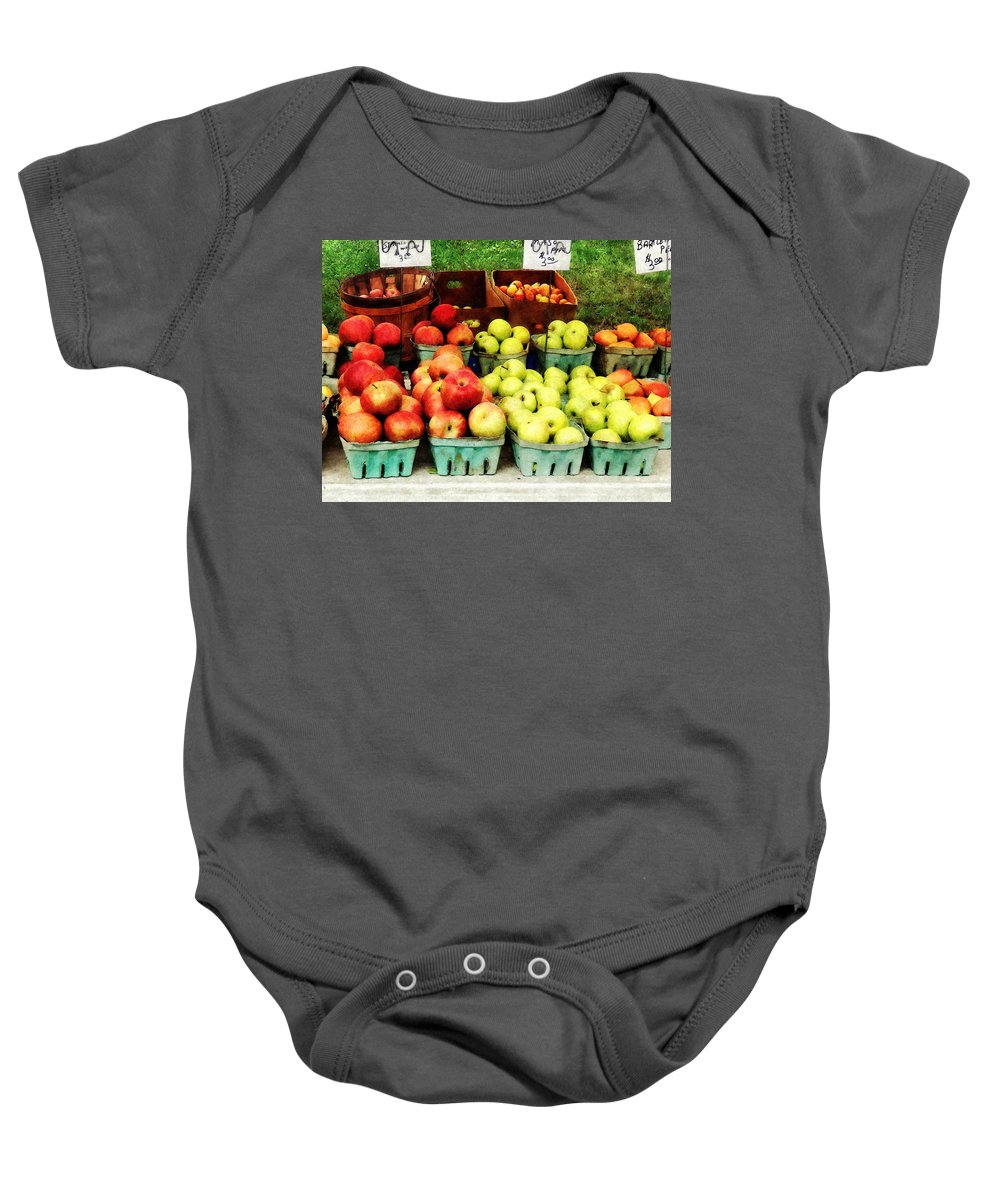Apple Baby Onesie featuring the photograph Apples At Farmer's Market by Susan Savad