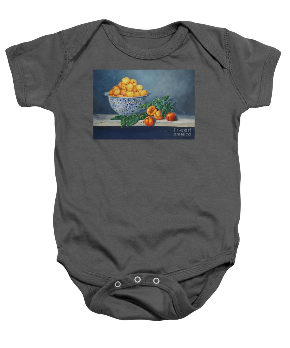 Fruit Baby Onesie featuring the painting Apricots And Peaches by Portraits By NC