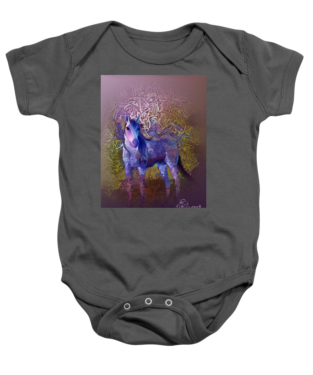 Baby Onesie featuring the painting Arabian Horse 2 by Imad Abu shtayyah