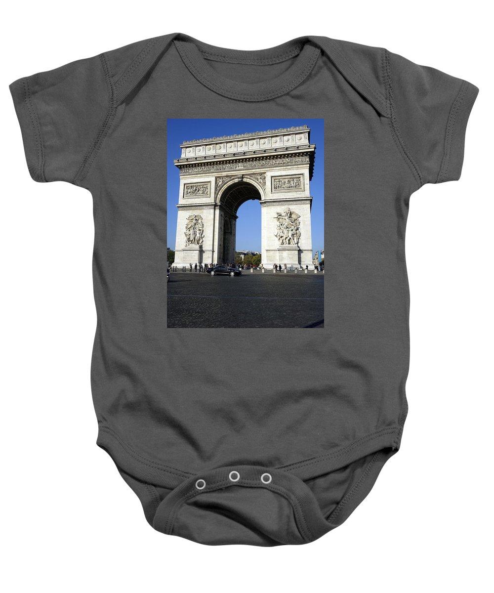 Paris Baby Onesie featuring the photograph Arc De Triomphe In Paris France by Richard Rosenshein