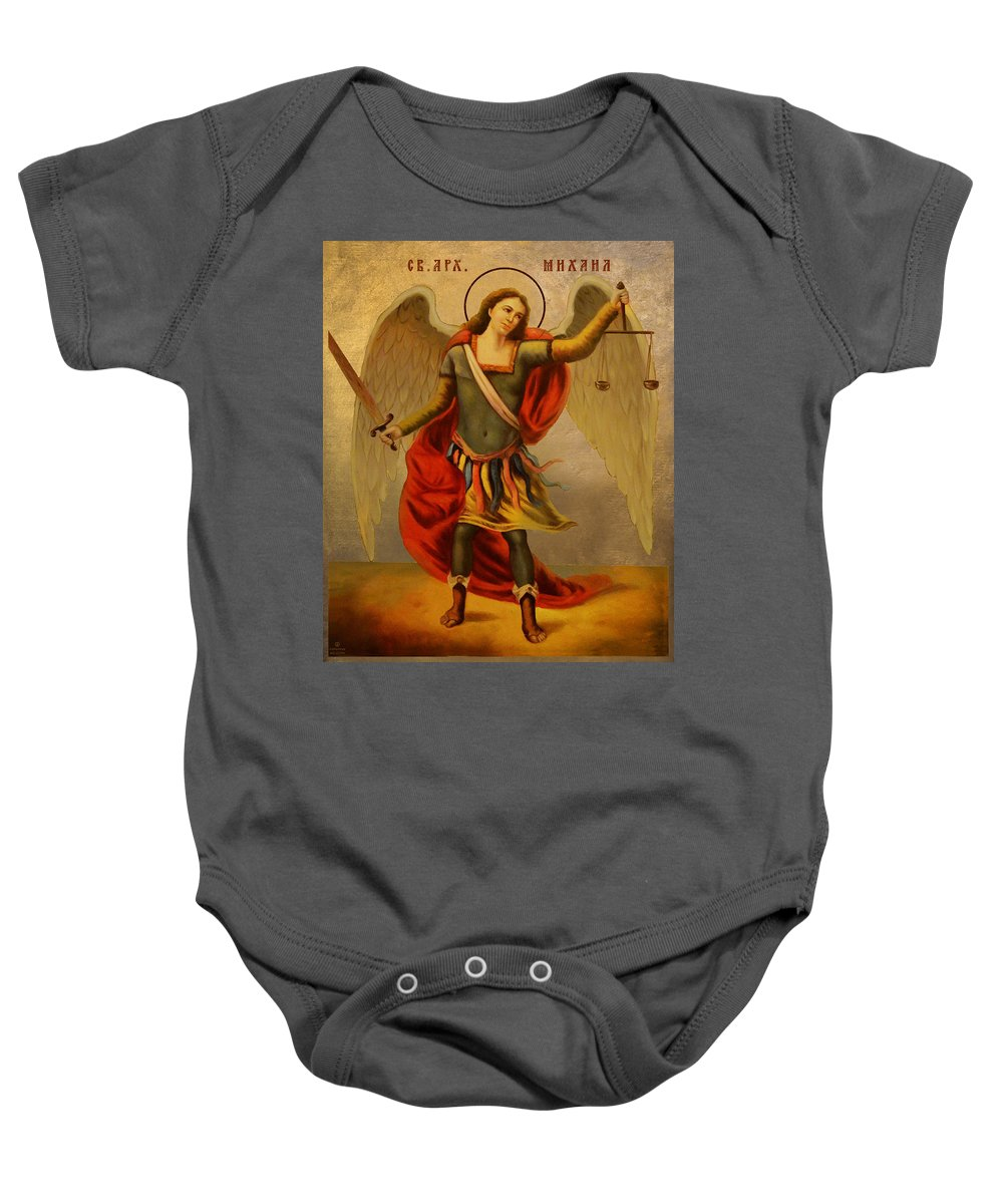 Archangel Michael Baby Onesie featuring the painting Archangel Michael by Aleksandar Tesanovic