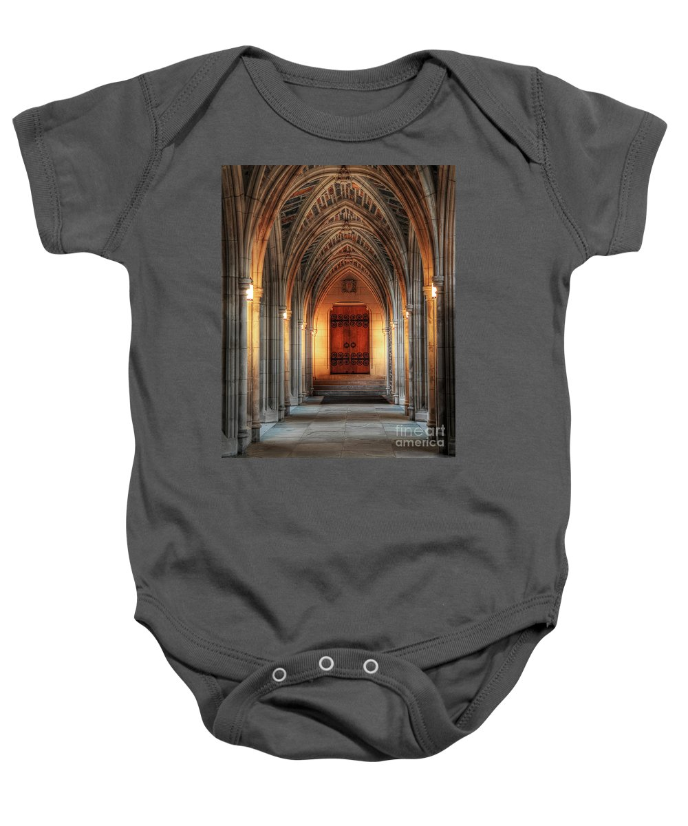Duke University Baby Onesie featuring the photograph Arches At Duke Chapel by Emily Kay