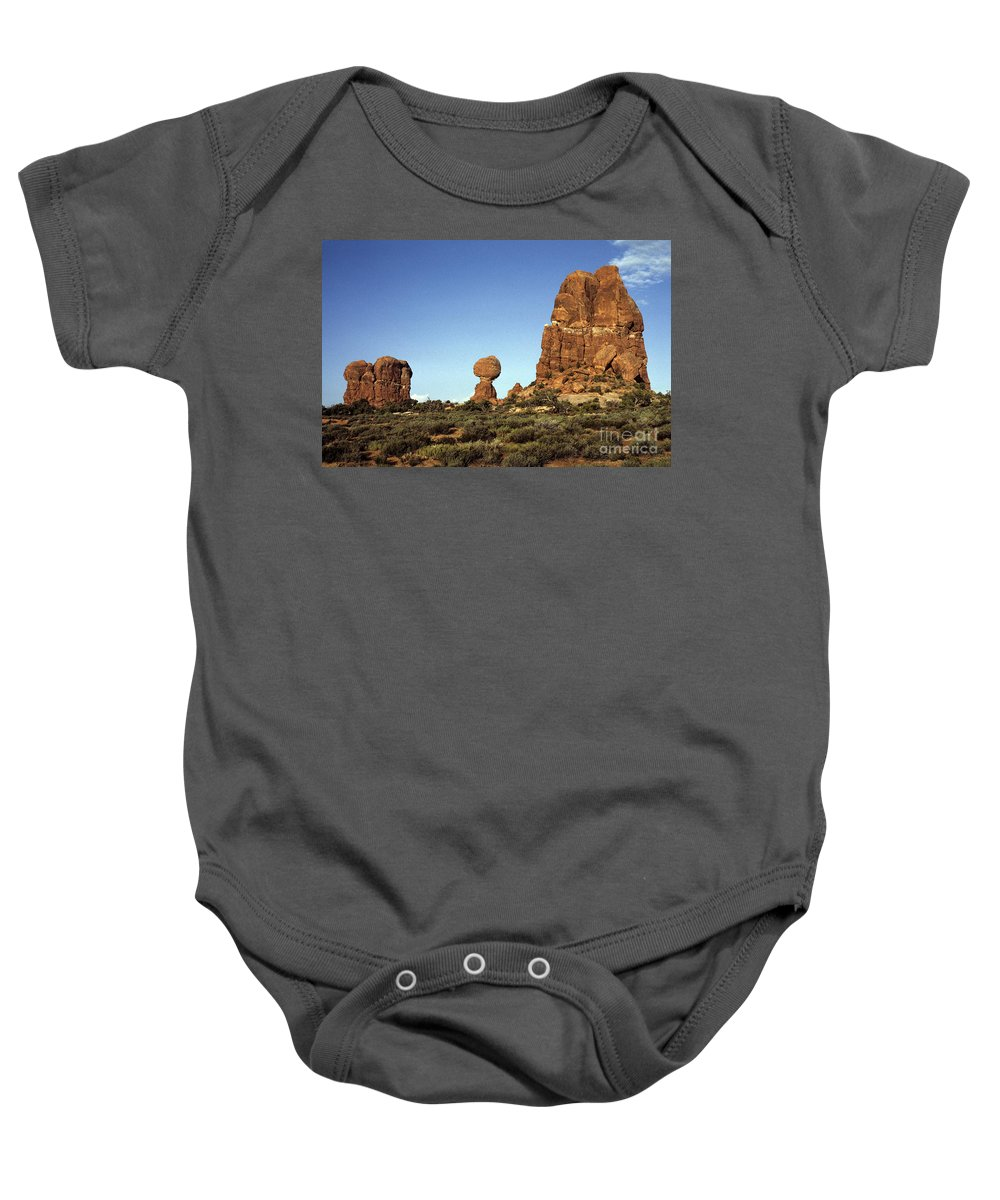 Landscape Baby Onesie featuring the photograph Arches National Park With Balanced Rock And Rock Formations by Jim Corwin