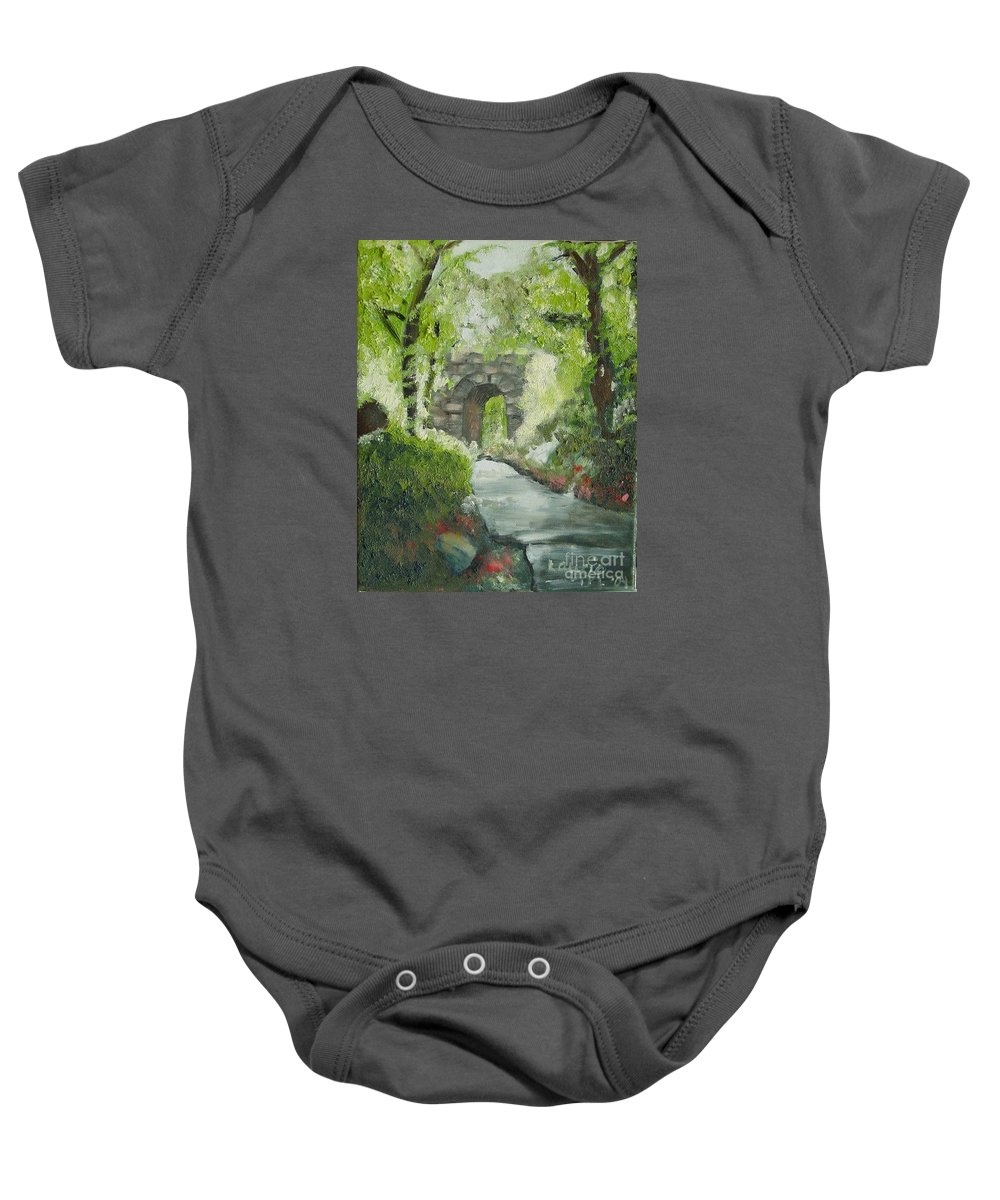 New York Baby Onesie featuring the painting Archway In Central Park by Laurie Morgan