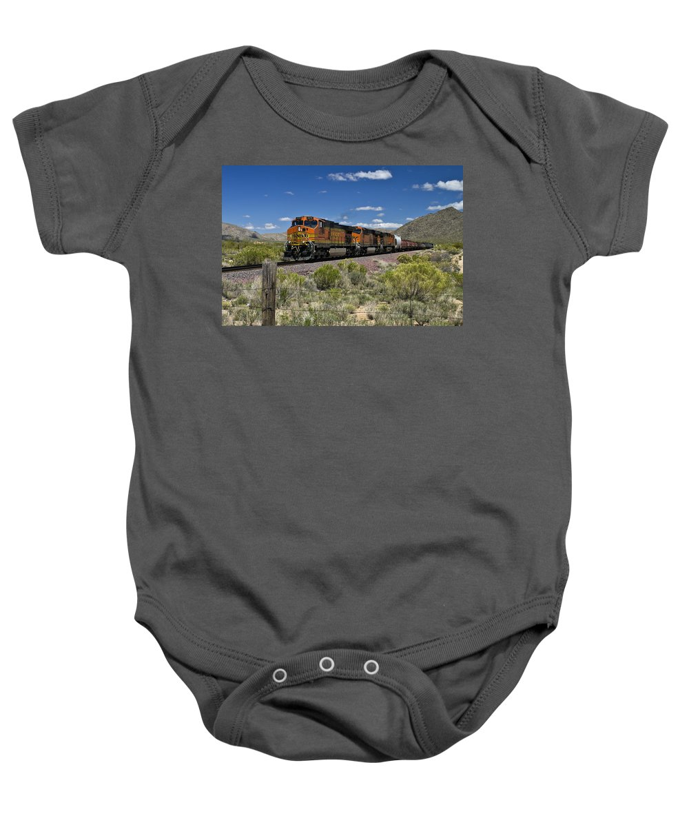Train Baby Onesie featuring the photograph Arizona Express by Paul Riedinger
