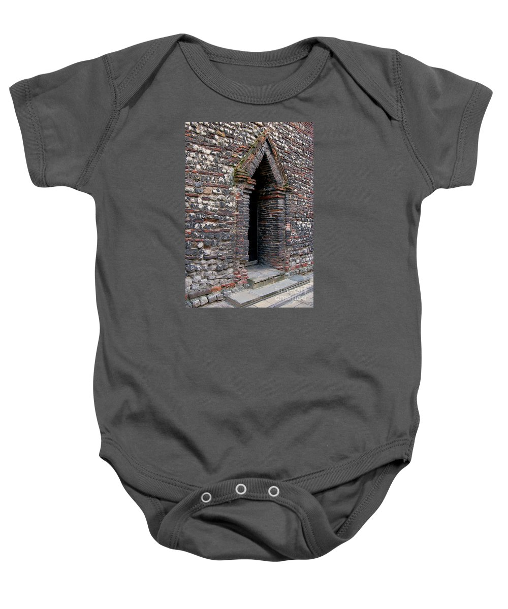 England Baby Onesie featuring the photograph Arrowhead Doorway by Ann Horn