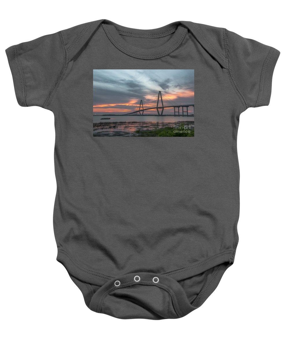 Arthur Ravenel Bridge Baby Onesie featuring the photograph Orange Nebulous by Dale Powell