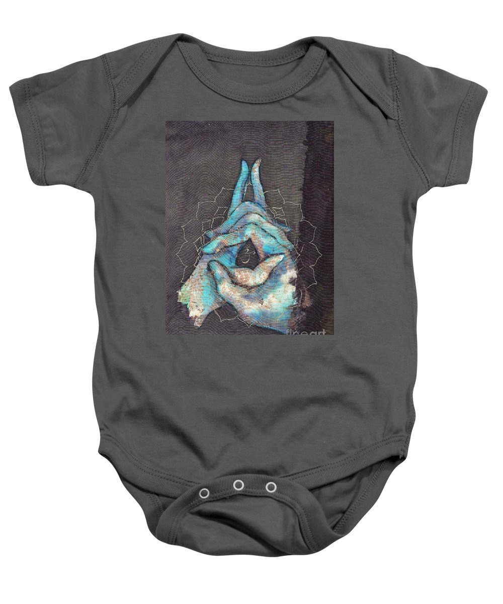 Tilly Campbell Allen Baby Onesie featuring the painting Ascension - Crown 'blue Hand' Chakra Mudra by Silk Alchemy