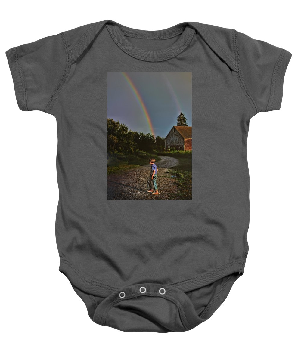 Rainbow Baby Onesie featuring the photograph At The End Of A Rainbow by Susan Capuano