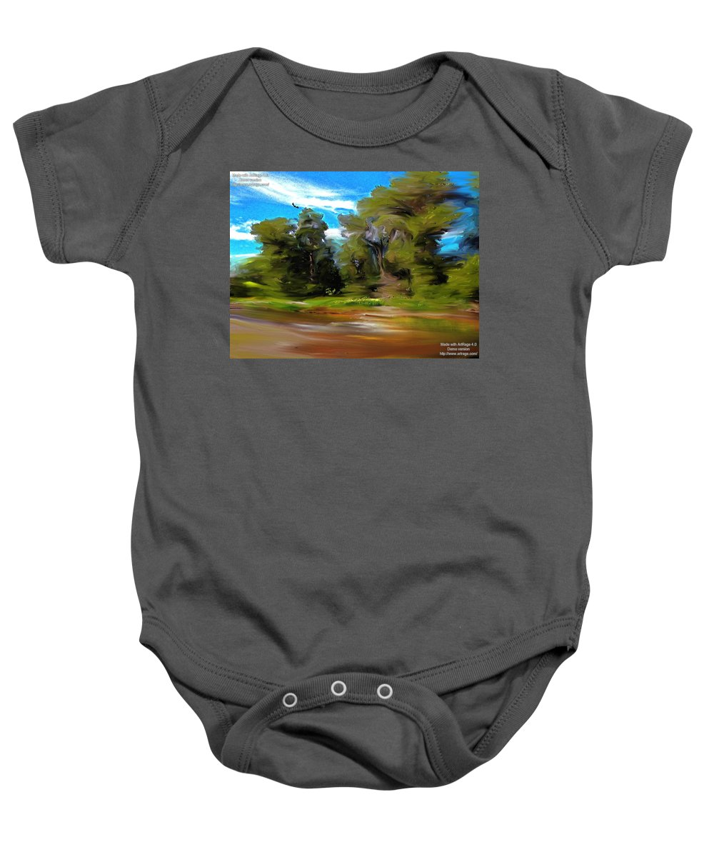 Impression Baby Onesie featuring the digital art At The River's Edge by Lenore Senior