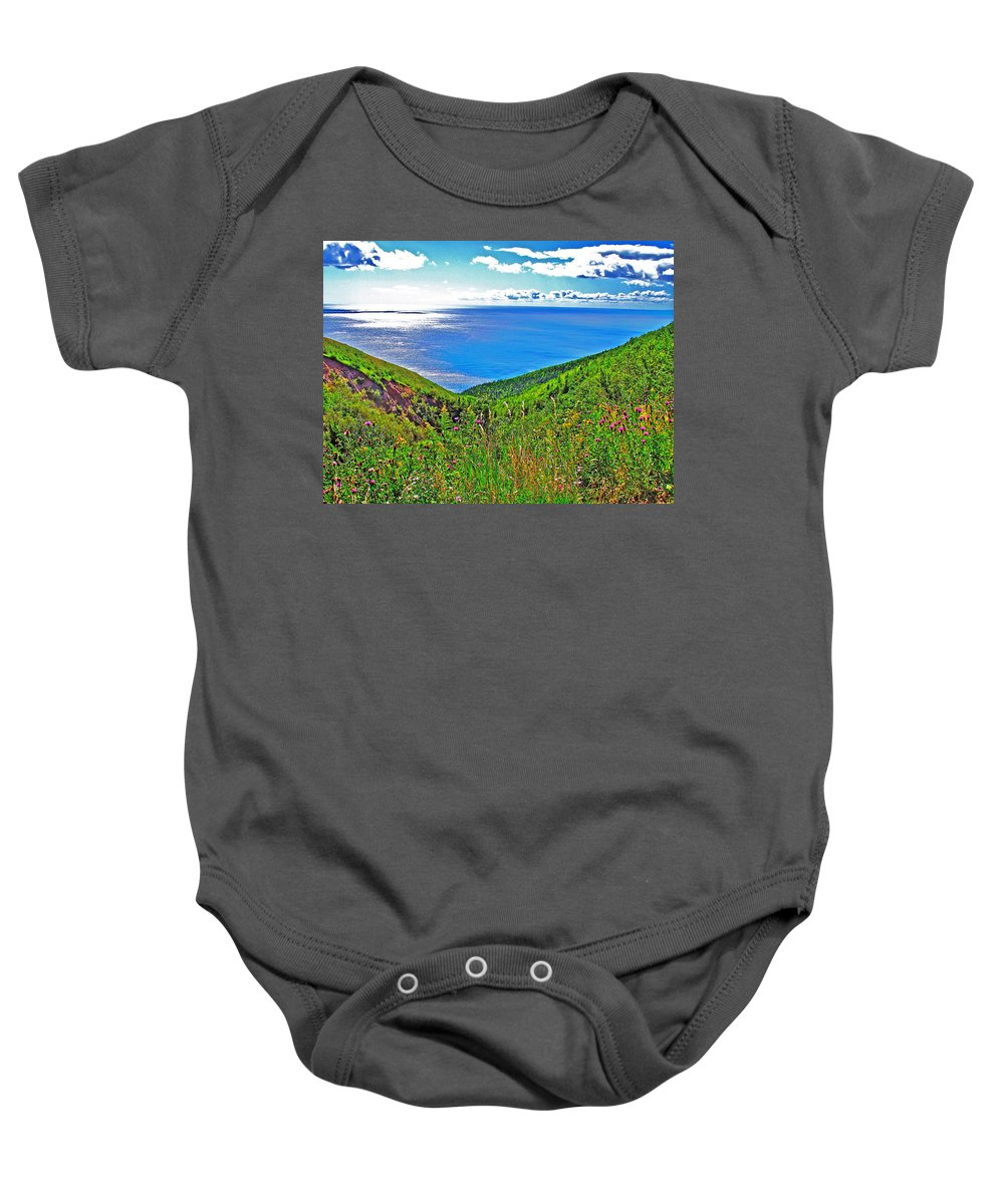 Atlantic Ocean View Point From Cape Breton Highlands National Park Baby Onesie featuring the photograph Atlantic Ocean View Point From Cape Breton Highlands National Park-nova Scotia by Ruth Hager