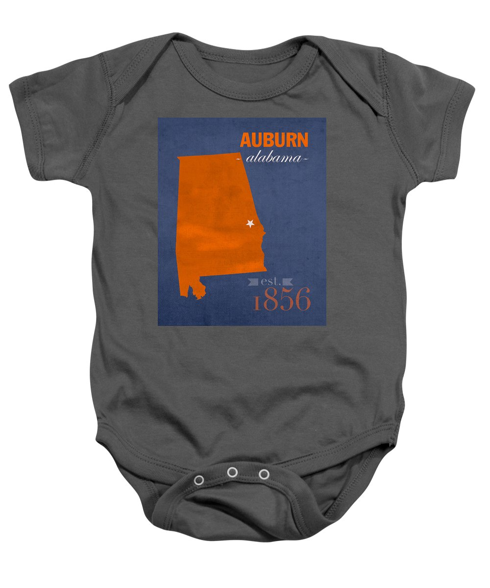 Auburn University Baby Onesie featuring the mixed media Auburn University Tigers Auburn Alabama College Town State Map Poster Series No 016 by Design Turnpike