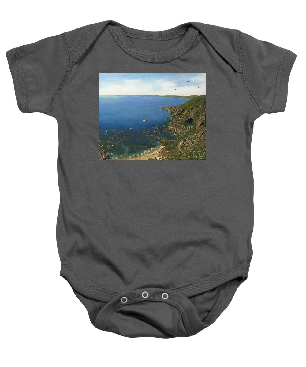 Landscape Baby Onesie featuring the painting August Afternoon At Whitsand Bay Cornwall by Richard Harpum