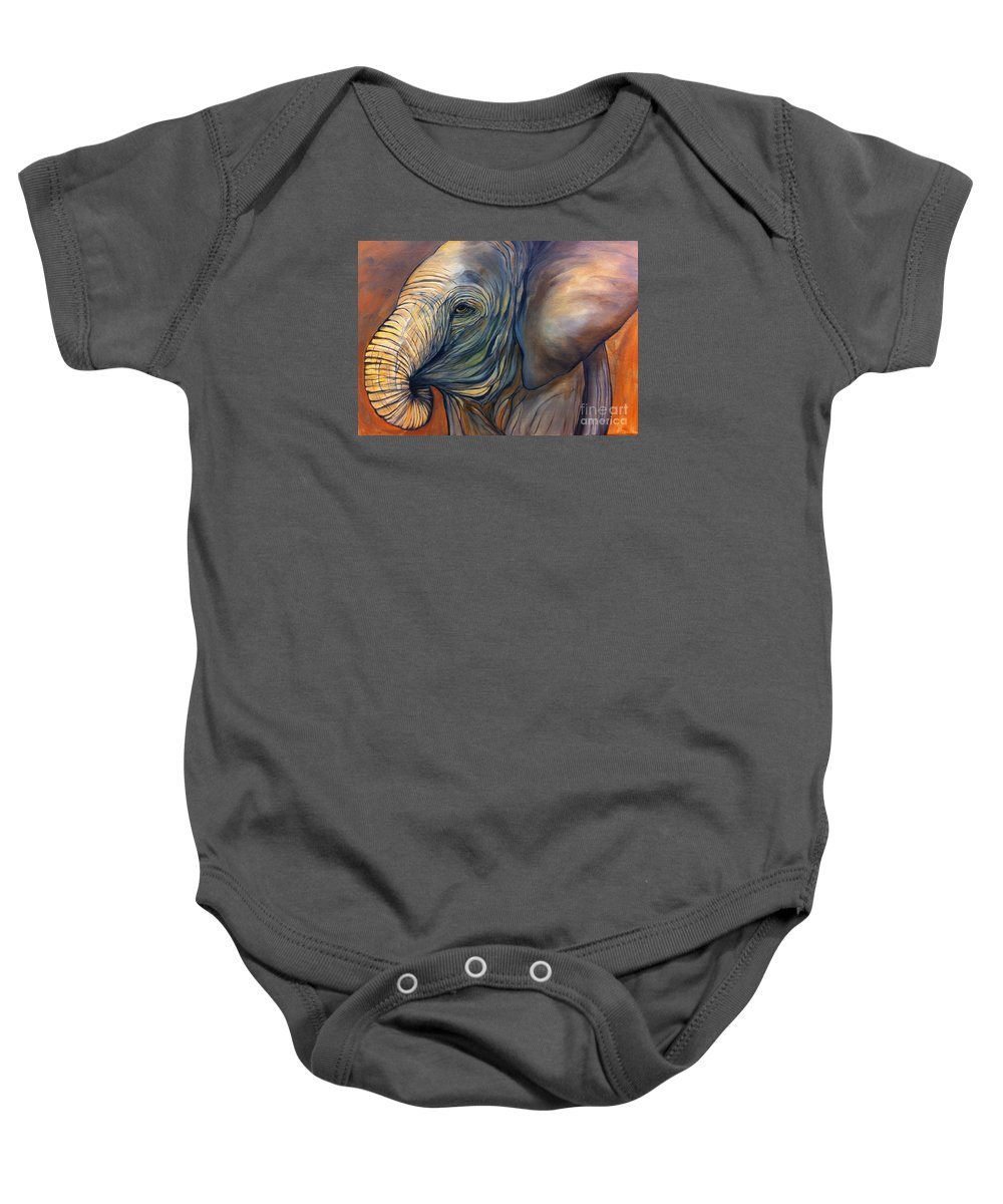 Elephant Baby Onesie featuring the painting Autumn by Aimee Vance
