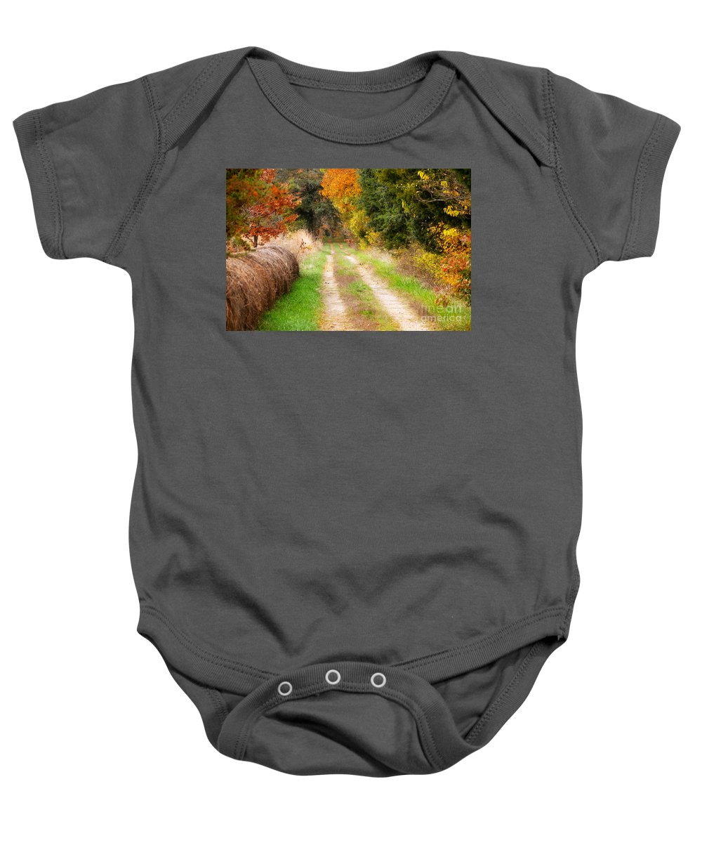 Autumn Landscape Baby Onesie featuring the photograph Autumn Beauty On Rural Dirt Road by Peggy Franz