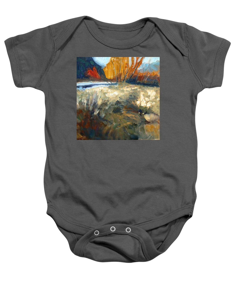 Landscape Baby Onesie featuring the painting Autumn Colours by Elena Sokolova