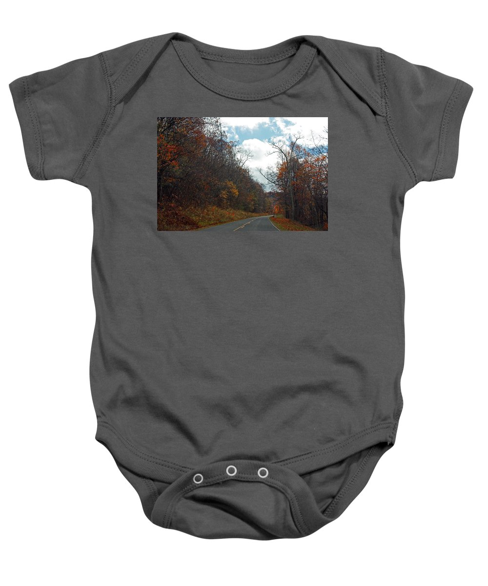 Highway Baby Onesie featuring the photograph Autumn Drive2581 by Carolyn Stagger Cokley