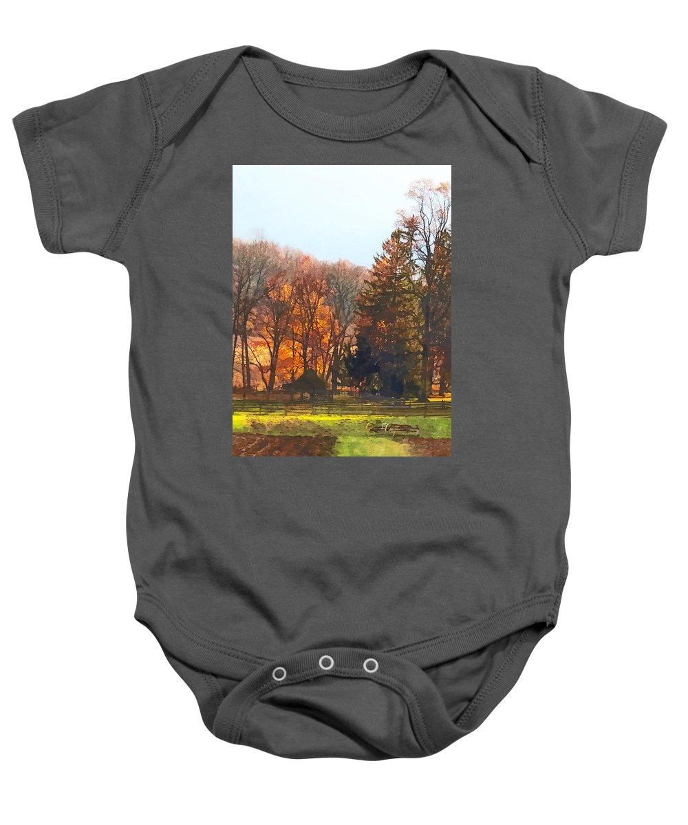 Farm Baby Onesie featuring the photograph Autumn Farm With Harrow by Susan Savad