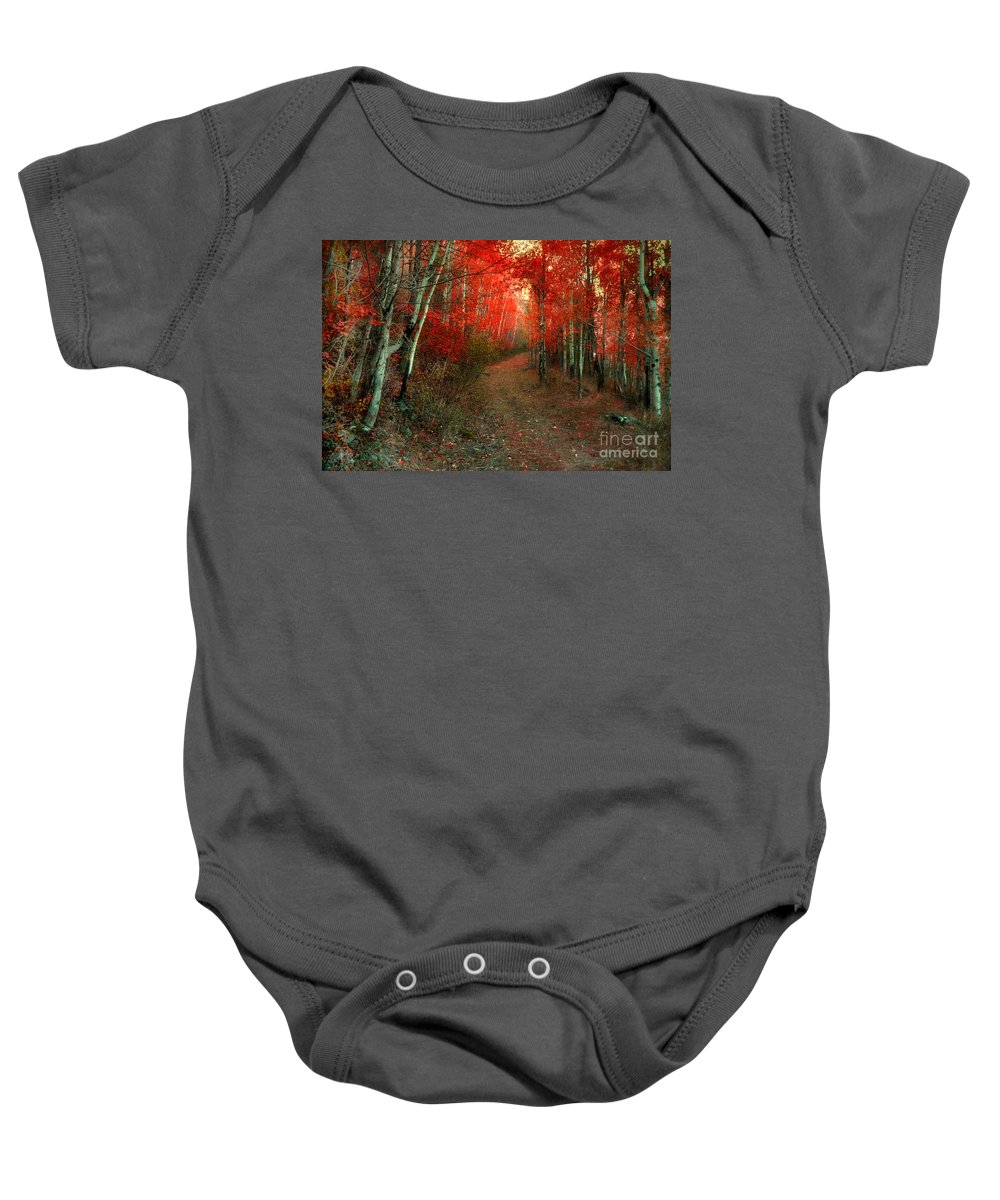 Tree Baby Onesie featuring the photograph Autumn Fire by Tara Turner