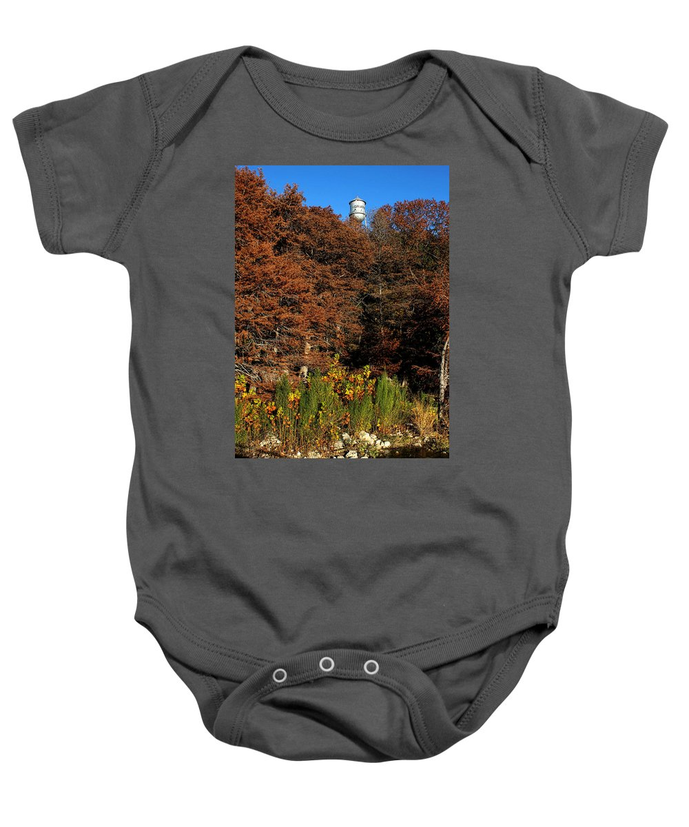 America Baby Onesie featuring the photograph Autumn In Gruene by Judy Vincent