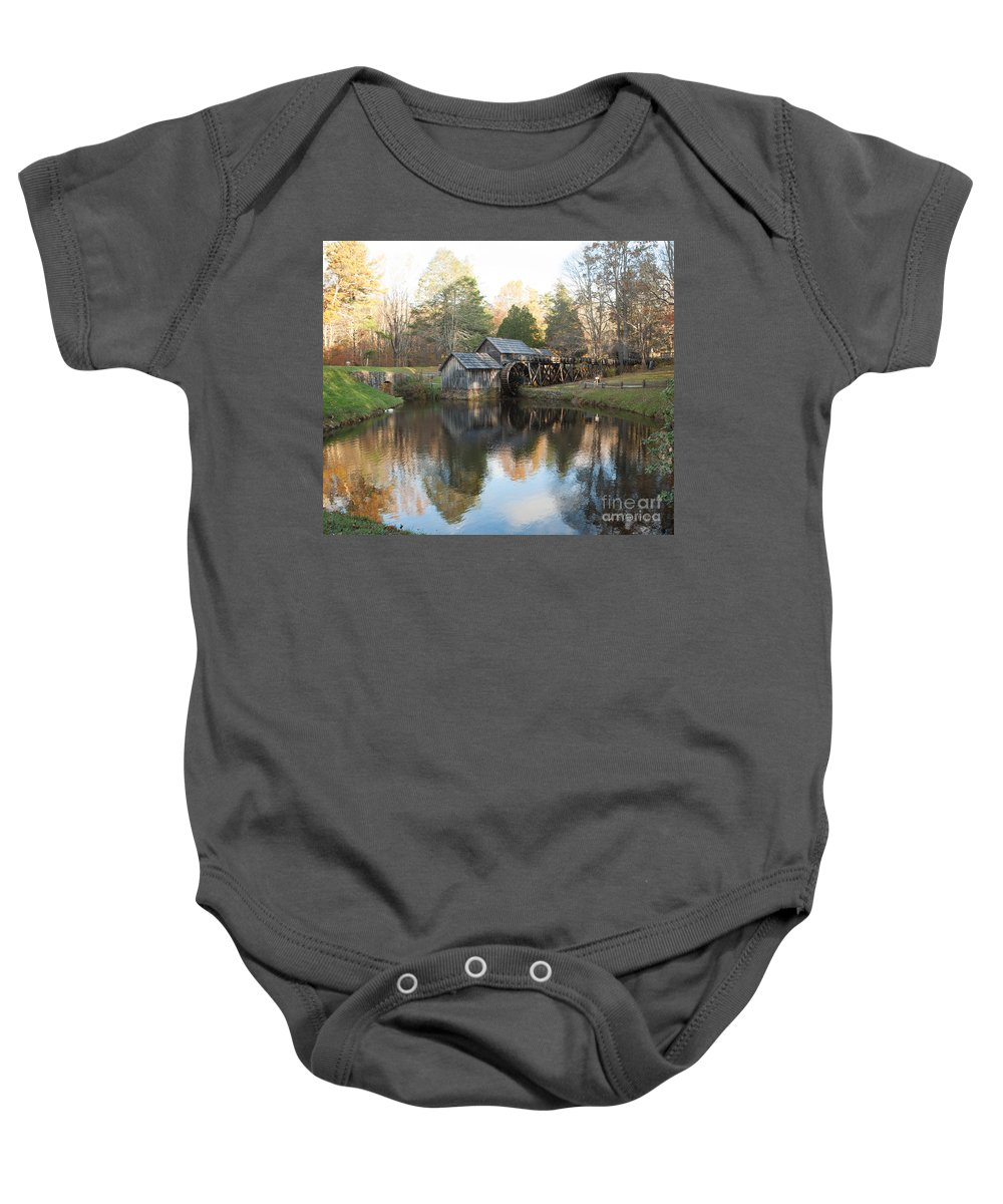 Mabry Mill Baby Onesie featuring the photograph Autumn Morning At Mabry Mill by Carol Lynn Coronios