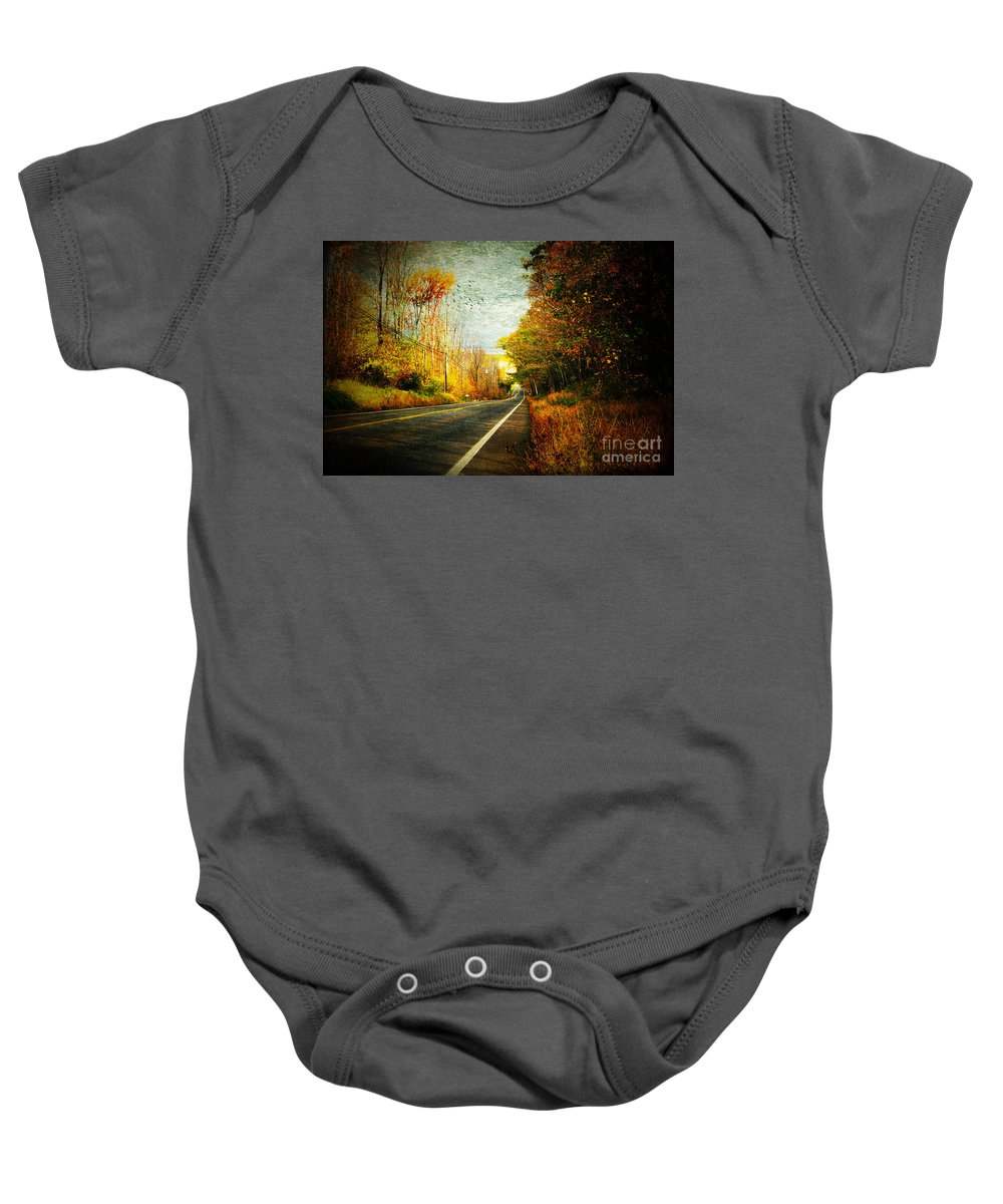 Street Baby Onesie featuring the photograph Autumn Road Connecticut Usa by Sabine Jacobs