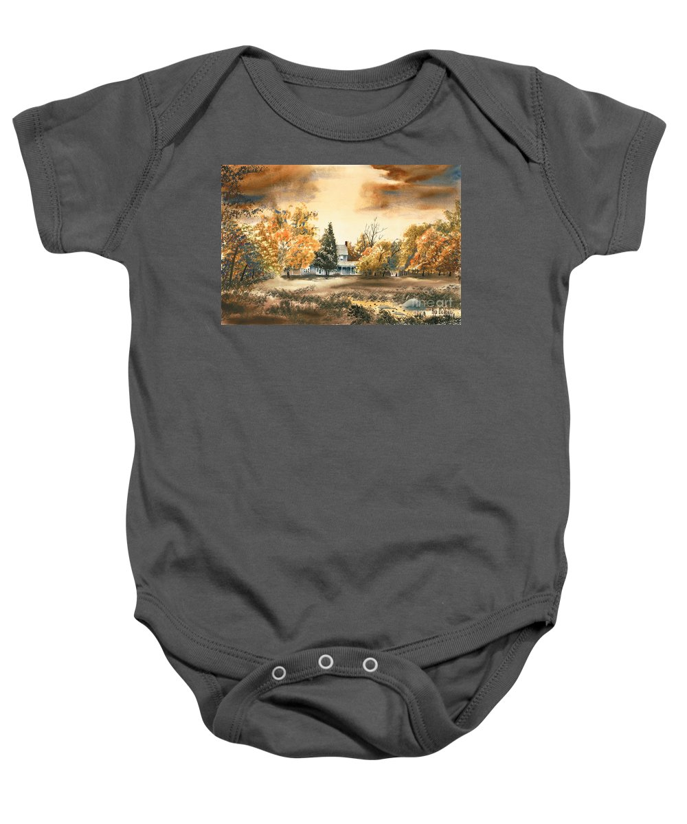 Autumn Sky No W103 Baby Onesie featuring the painting Autumn Sky No W103 by Kip DeVore