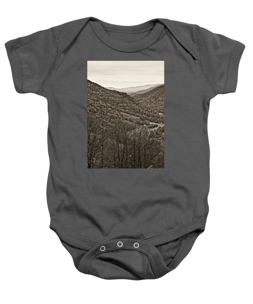 West Virginia Baby Onesie featuring the photograph Autumn Valley Sepia by Steve Harrington