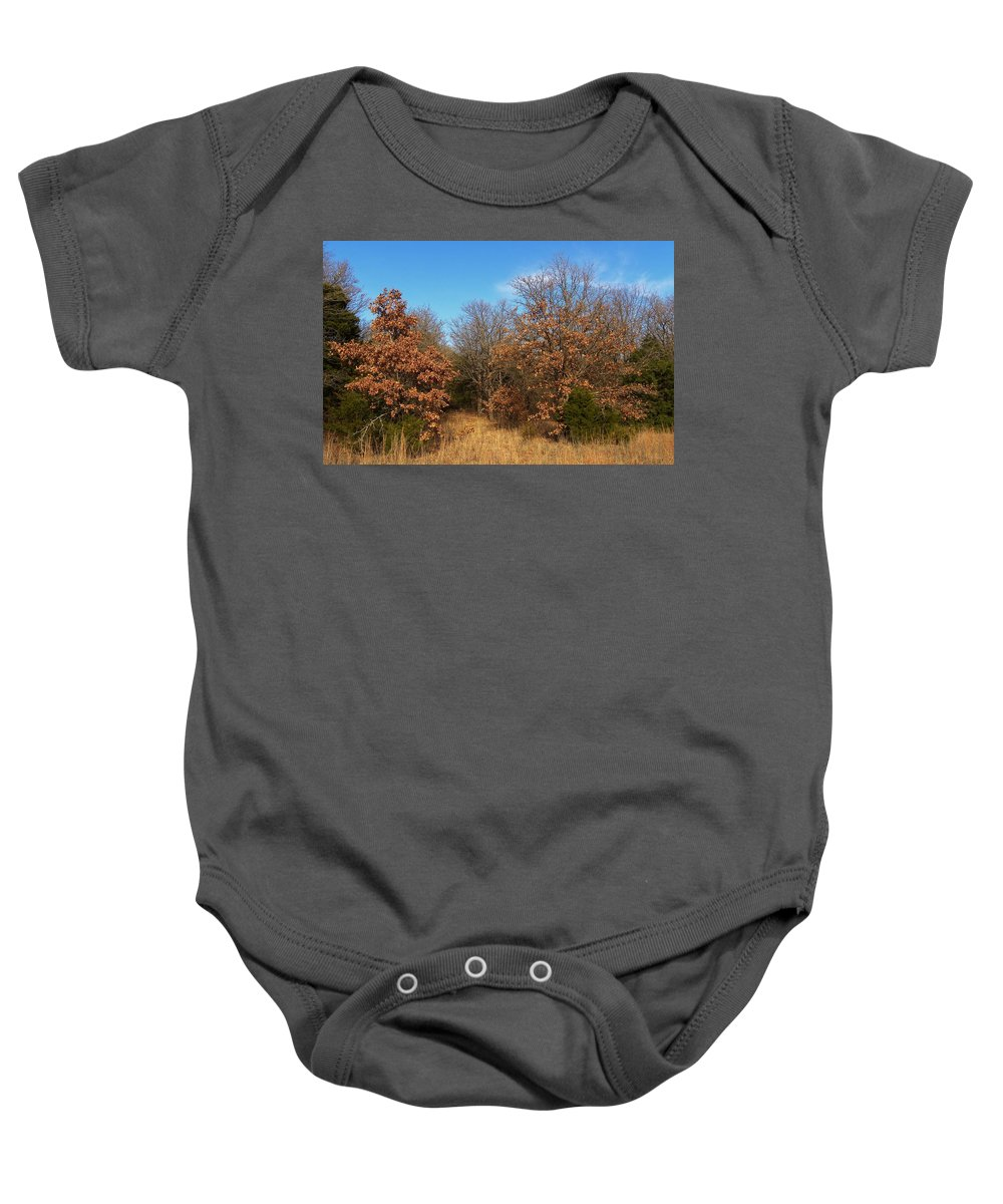 Autumn Baby Onesie featuring the photograph Autumn Woods by Annie Adkins