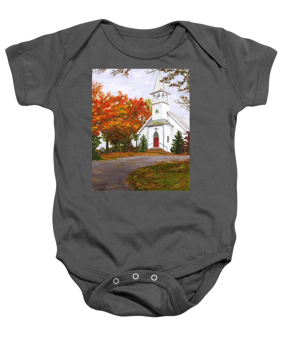 Fall Baby Onesie featuring the painting Autumn Worship by Deborah Butts