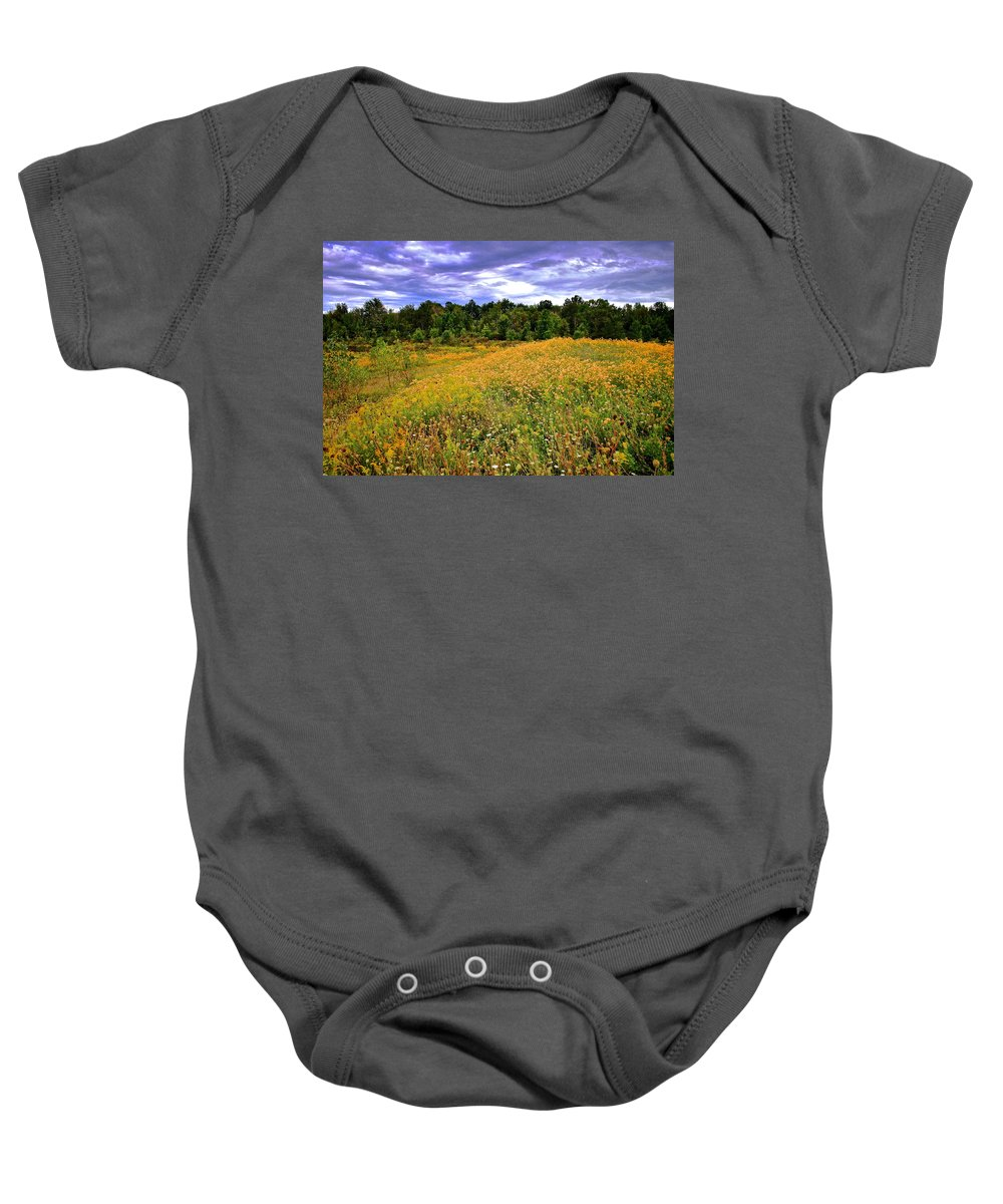 Hdr Baby Onesie featuring the photograph Autumns Brilliance Hdr by Frozen in Time Fine Art Photography