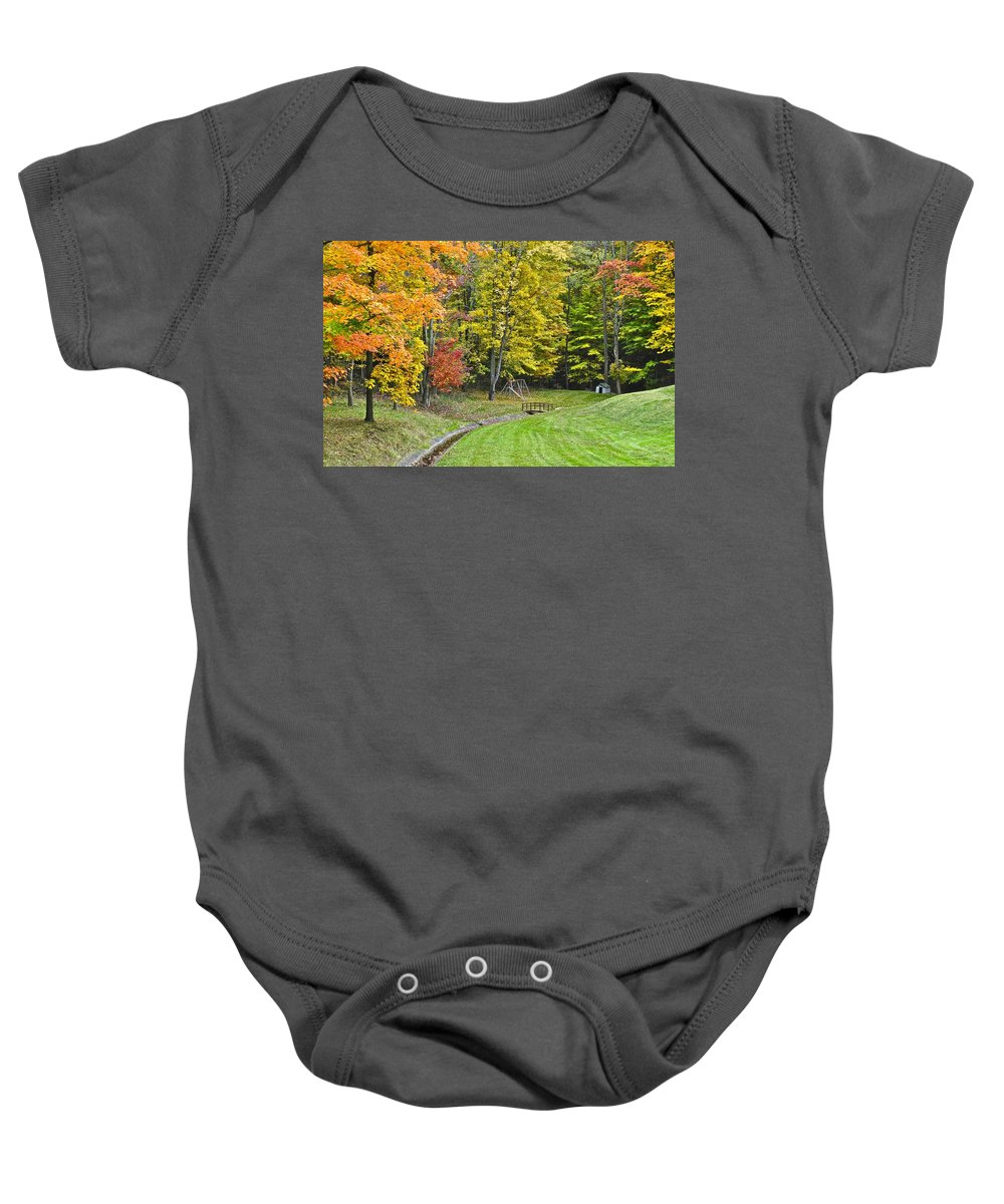 Landscape Baby Onesie featuring the photograph Autumns Playground by Frozen in Time Fine Art Photography